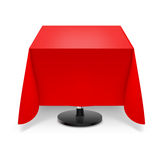 Square table with red tablecloth. Square dining table with red tablecloth and round leg  on white background Royalty Free Stock Image