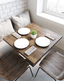 Square table top view. Square cafe table with plates. Sofa with pillows and chairs around it. Concept of eating out. 3d rendering. Top view Royalty Free Stock Photo