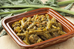 Square tajine with meat and cardoon meal Stock Photography