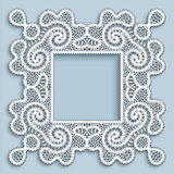 Square tatting lace frame Royalty Free Stock Photos