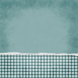Square Teal and White Gingham Torn Grunge Textured Background Stock Image