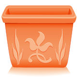 Square Terracotta Planter, Floral Design. Square terracotta clay flower pot planter with embossed floral designs. EPS8 compatible Royalty Free Stock Photo