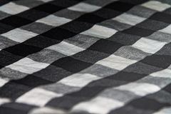 Square texture on fabric, men`s shirt black and white royalty free stock photos