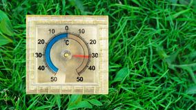 Square thermometer on the grass in the summer stock images