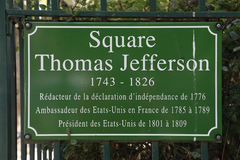 Square of Thomas Jefferson, honors Thomas Jefferson, Franco-American relationship during American Revolution - Paris, France - sho royalty free stock photography