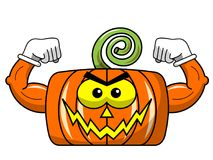 Square threatening halloween pumpkin showing muscels  Stock Photos