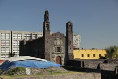 Tlatelolco, Three cultures square in Mexico city,. The square of the Three Cultures in Mexico city. Spanish, Native Mexican and Modern culture Royalty Free Stock Photos