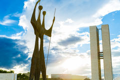 Square of the Three Powers in Brasilia, the capital of Brazil.. Stock Photo
