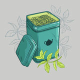 Square Tin. Packaging and tea leaves Royalty Free Stock Images