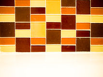 Square tire wall. Pattern brown square tire wall Royalty Free Stock Image
