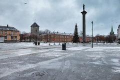 The square of Torget in Trondheim Stock Images