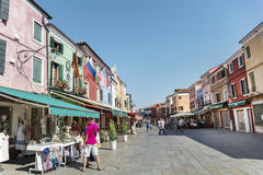 Square with tourists in Burano island , Italy Royalty Free Stock Image