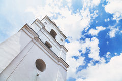 Square tower white bell tower Stock Photo