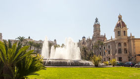 Square of the town hall in Valencia, Spain Stock Photography