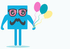 Square toy with glasses and balloons. Small square with glasses and mustache and blue balloons Stock Images