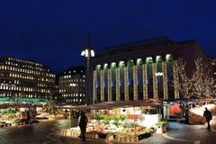 Christmas at Hötorget in Stockholm. Square trade and cozy Christmas atmosphere at Hötorget - the Haymarket - in Stockholm.n Royalty Free Stock Images