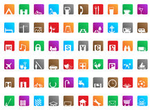 Square Travel Icons. 60 different square vector travel icon map markers Stock Photo