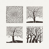 Square trees set. Vector illustration. Pattern geometric figure. Stock Image