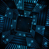 Square tunnel or space port from blue sparks Royalty Free Stock Photos
