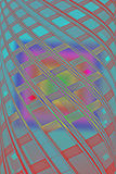 Square under twisted disco rainbow tube, modern interior, Stock Photography