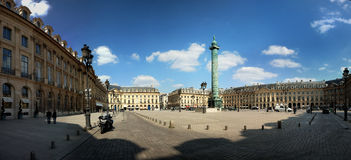 The square Vandome (place vandome) in Paris, Franc. Panorama of the square Vandome (place vandome) in Paris, France Stock Image
