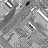 Square vecto background - electronic circuit board. Square monochrome background - design multi-layered electronic circuit board royalty free illustration