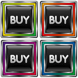 Square vector button with buy icon. Set of square vector icons with buy icon on black background Stock Photography