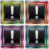 Square vector button with exclamation point icon Royalty Free Stock Image