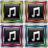 Square vector button set with music note ico. Shiny square vector button set with music note icon on black background Stock Image