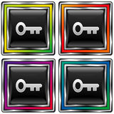 Square vector button with skeleton key icon Royalty Free Stock Image