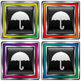 Square vector button with umbrella icon. Square shiny vector button with umbrella icon on black background Royalty Free Stock Photography