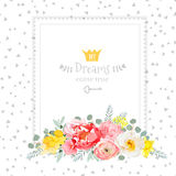 Square vector design frame with bouquet of wild rose, ranunculus, daffodil, narcissus, carnation and eucaliptus leaves Royalty Free Stock Photos