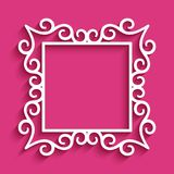 Square frame with cutout paper swirls. Square vector frame with cutout paper swirls, ornamental template for laser cutting or wood carving Royalty Free Stock Photography
