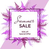 Square vector frame with fern frond background and Summer Sale 50 percent off special offer text. Bracken grass violet and purple discount label border Royalty Free Stock Photos