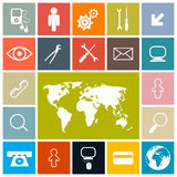 Square Vector Icons Set Royalty Free Stock Image