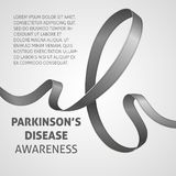A square vector image with a gray ribbon as a symbol of parkinson`s disease awareness. A world parkinson`s disease day. A template. For a medicine flyer poster vector illustration