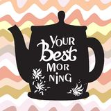 A square vector image with a tea pot and a lettering. One more cup, please. A tea pot with a color waves background for a flyer,. Card or poster design template stock illustration