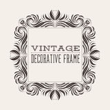 Square vector vintage border frame with retro ornament pattern. Victorian style decorative design Royalty Free Stock Photo