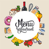 Square vegetable, kitchenware cheese and pasta menu design Stock Photos