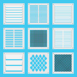 Square ventilation shutters. Illustration square ventilation shutters. Set ventilation shutters different type. Isolated vector illustrations. Vector flat Stock Photo
