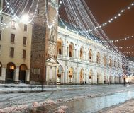 Square of Vicenza, Piazza dei Signori, with illuminations and sn Stock Photo