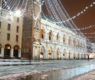Square of Vicenza, Piazza dei Signori, with illuminations and sn Stock Photo