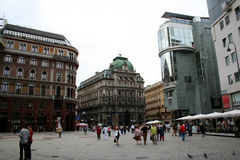 Square in Vienna with buildings and people Royalty Free Stock Photos