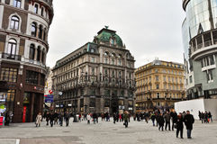 Square in Vienna city center full of people Royalty Free Stock Photography