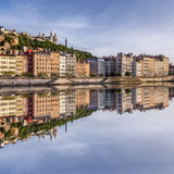 Square view Lyon city with reflection in Soane Stock Photo