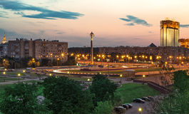 Square view in twilight. Moscow royalty free stock photo
