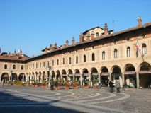The square of Vigevano, Italy Royalty Free Stock Photos