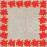 Square vintage frame with red anemones Royalty Free Stock Image