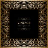 Square vintage gold frame. Vintage gold background, square ornamental frame on black Royalty Free Stock Photo