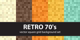 Square vintage pattern set Retro 70s. Vector seamless tile backg Stock Photos